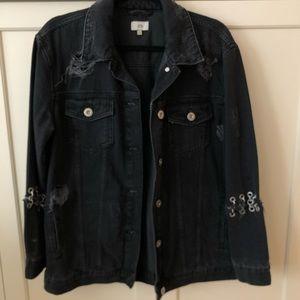 Washed Black Distressed Jean Jacket w Chain detail
